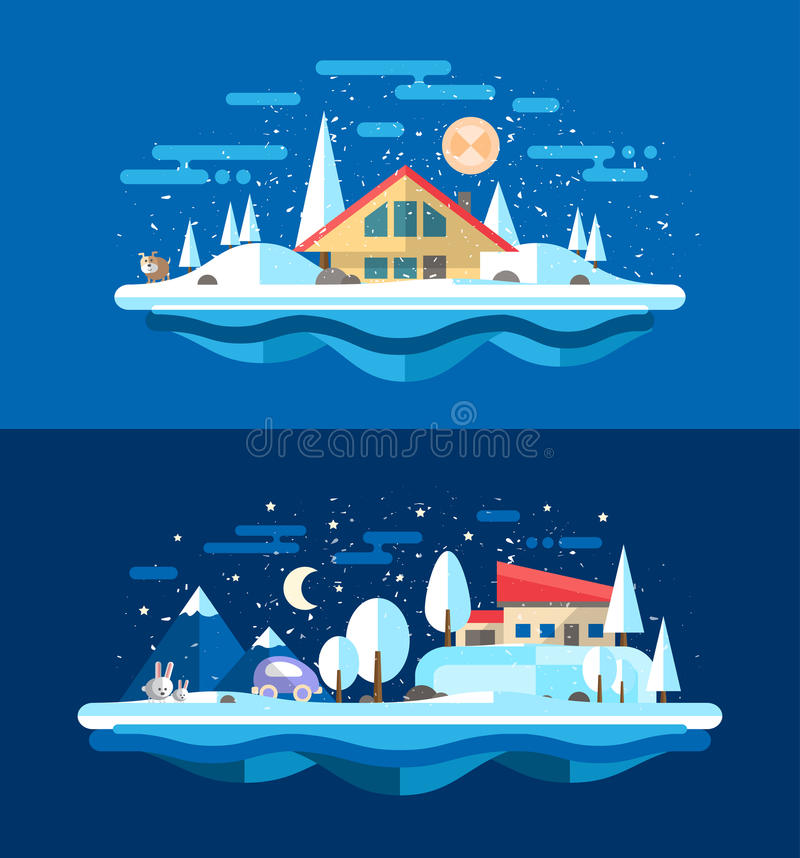 Illustration of flat design urban winter landscape royalty free illustration