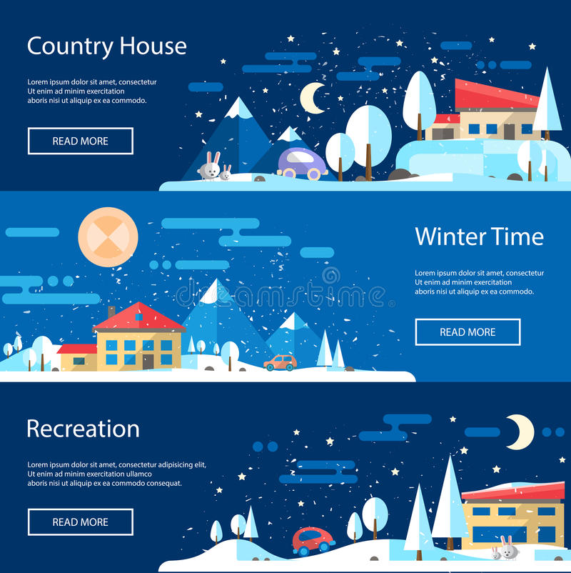 Illustration of flat design urban winter landscape stock illustration