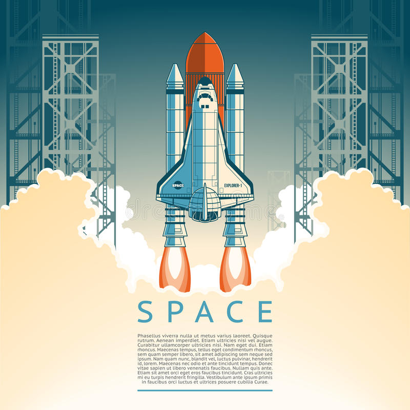 Illustration of a flat style rocket takes. Off stock illustration