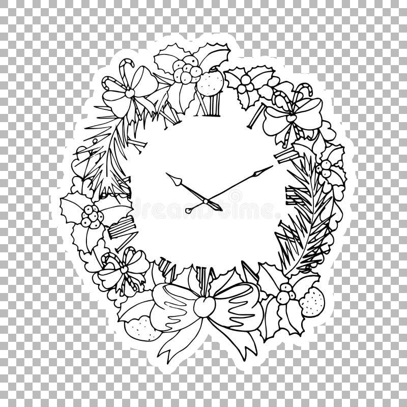 Illustration fleurie d'autocollant de guirlande d'horloge illustration libre de droits