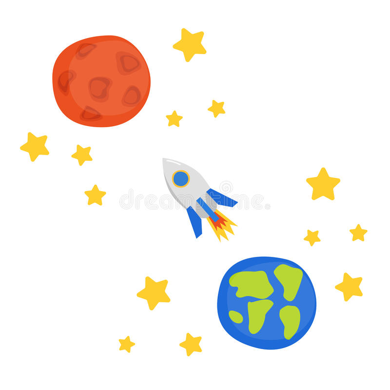 Illustration with flight to Mars concept vector illustration