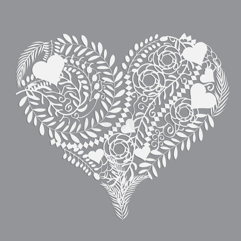 Illustration florale abstraite de vecteur de coeur de modèle illustration de vecteur