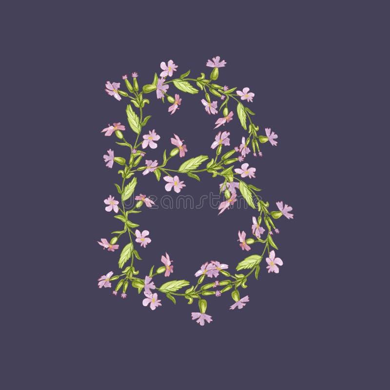 Illustration florale d'alphabet d'aquarelle La lettre B a fait des fleurs sur le fond violet foncé illustration libre de droits