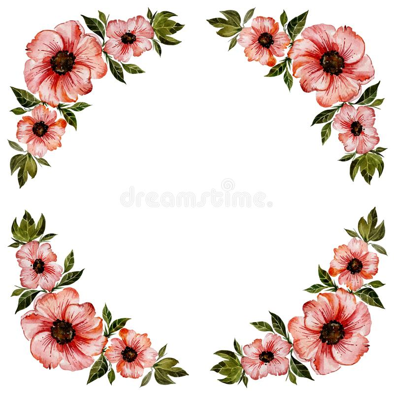 Illustration florale de cadre Belles fleurs rouges avec les feuilles vertes Modèle rond sur le fond blanc avec l'espace pour votr illustration stock