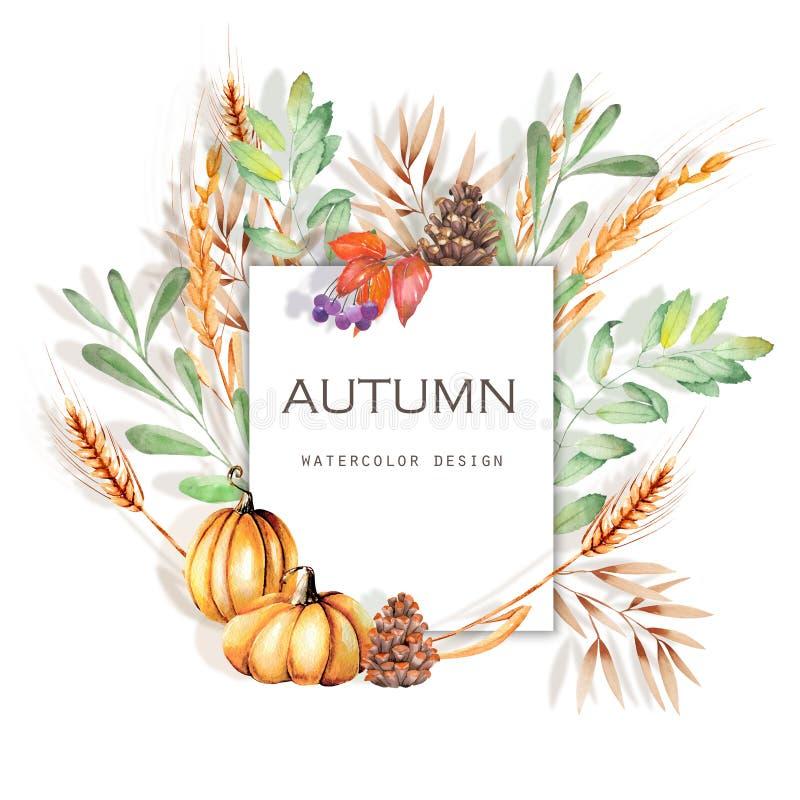 Illustration florale de carte d'automne d'aquarelle, conception de bannière de chute illustration de vecteur