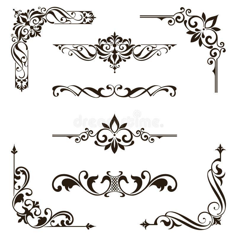 Illustration florale de conception d'art déco d'autocollants de frontières de cadres de coins d'éléments d'ornements rétro illustration de vecteur