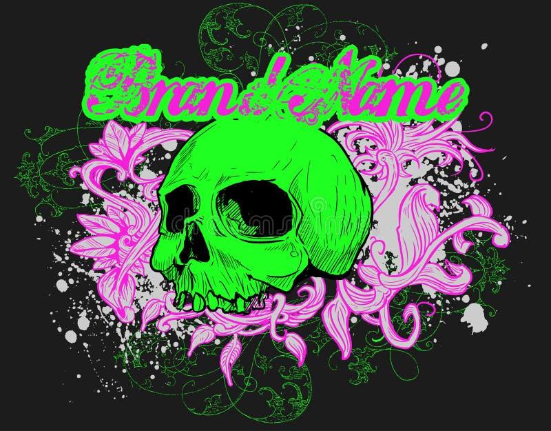 Illustration florale de crâne   illustration stock