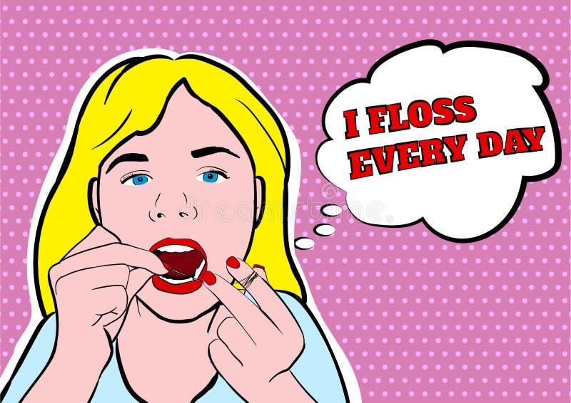 Illustration flossing de vecteur de dents de fille photo stock
