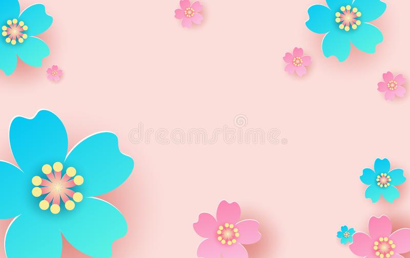 Illustration of flower pattern background. Creative design paper cut and craft for card,banner, poster, promotion, web.Tropical royalty free illustration
