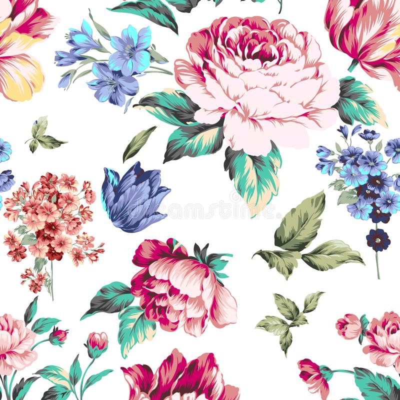 Flower Illustration pattern in simple background. Illustration flower in simple background. Banner, nature.Vintage Baroque Victorian frame border monogram floral stock illustration