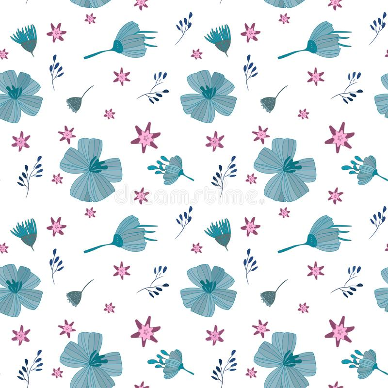 Illustration, flowers blue pink, seamless pattern. Seamless pattern Drawing for printing on fabrics, paper, wallpaper, wrapping paper, textiles, towels stock illustration