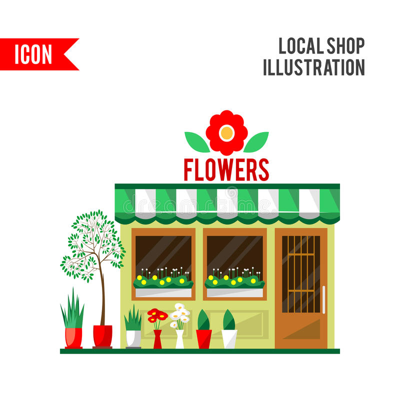 Illustration of a flowers shop. Little cute retro house and store, shop or boutique with green awning. Floral boutique. Consumer flowerpot. flat style icon stock illustration