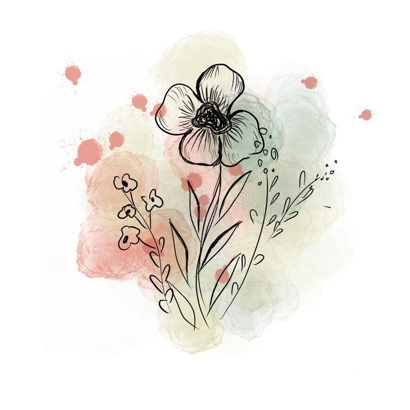 Illustration with grafic flowers stock illustration