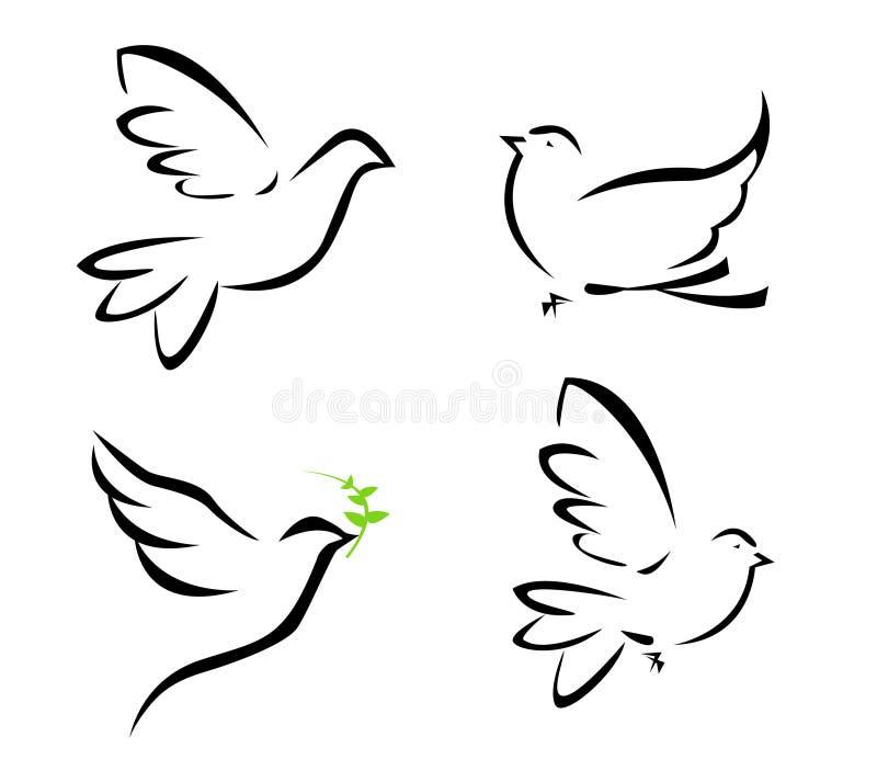 Illustration of flying dove stock illustration