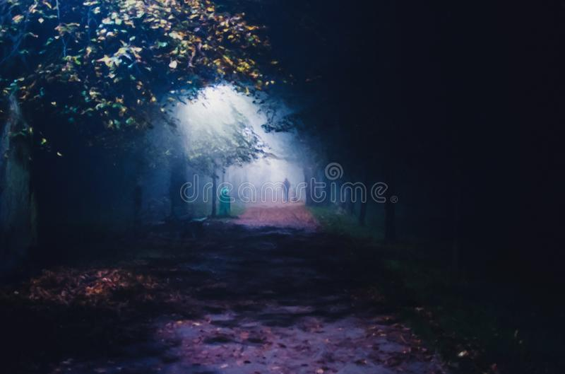 Illustration of fog in the park at night, soft focus, one person royalty free stock image