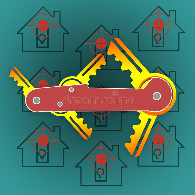 Illustration with a folding knife in the center. Instead of blades, keys are located. Silhouettes of houses under the gun. vector illustration