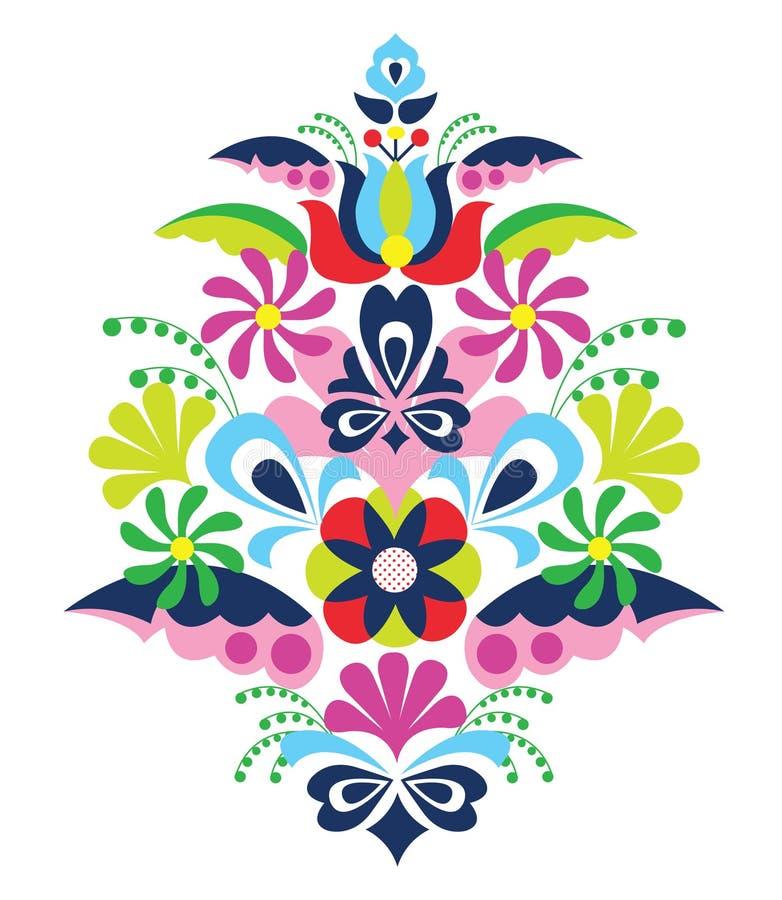 Illustration folklorique traditionnelle de vecteur de kalocsai de la Hongrie d'ornement illustration libre de droits