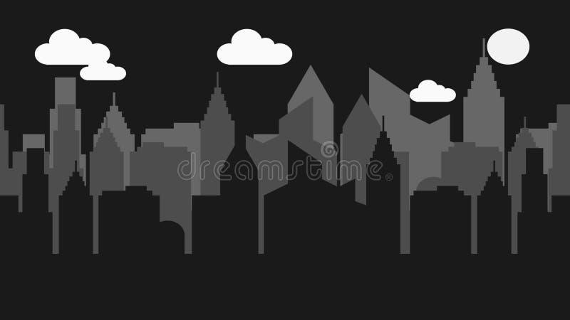 Illustration foncée de vecteur d'horizon de paysage urbain de nuit photo stock