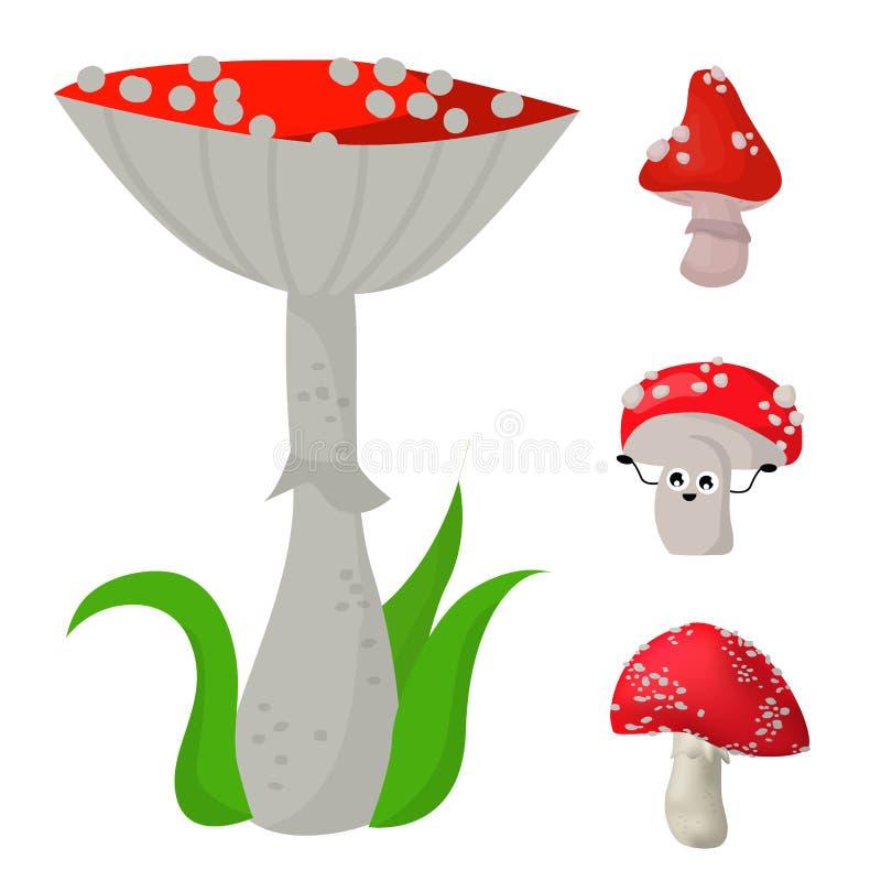 Illustration fongueuse toxique de nourriture de saison toxique dangereuse d'ensemble de champignons d'amanite illustration libre de droits