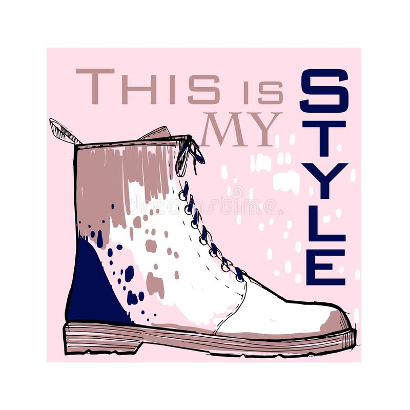 Illustration of Font poster with winter women shoes. Graphic top view footwear for female and lady. Fashion design for. Vector illustration of Font poster with royalty free illustration