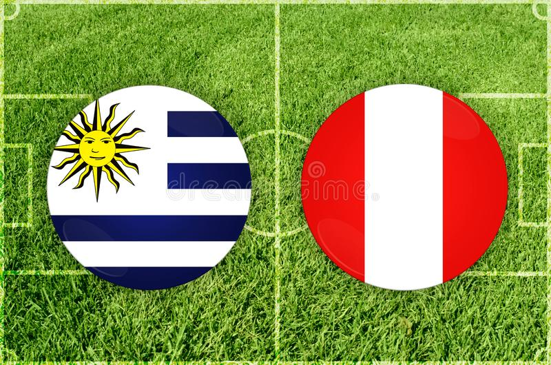 Uruguay vs Peru football match royalty free stock photo