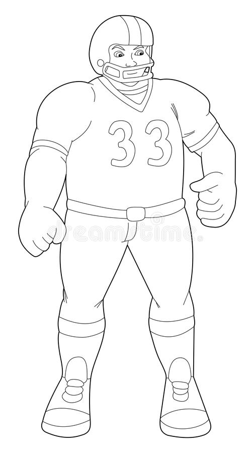Illustration of a football player black and white royalty free stock images