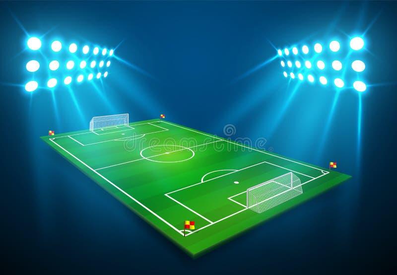 An illustration of Football soccer field with bright stadium lights shining on it. Vector EPS 10. Room for copy.  stock illustration