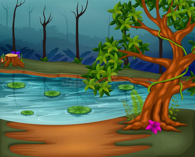 Forest scene with lake. Illustration of forest scene with lake royalty free illustration