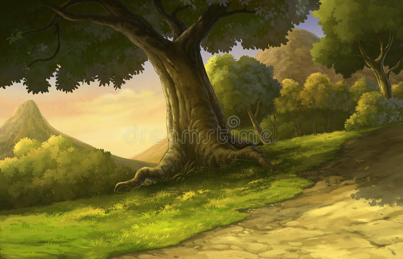 Illustration forest and sunset beautiful royalty free illustration