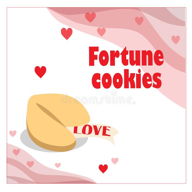 Illustration with fortune cookie with hearts on the white background. EPS 10 stock illustration