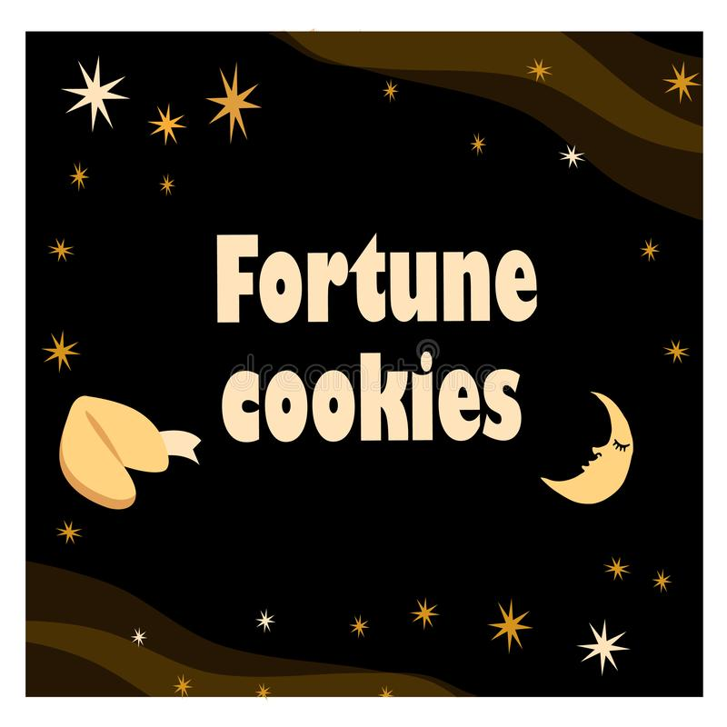 Illustration with fortune cookie with stars and moon on the black background. EPS 10 vector illustration