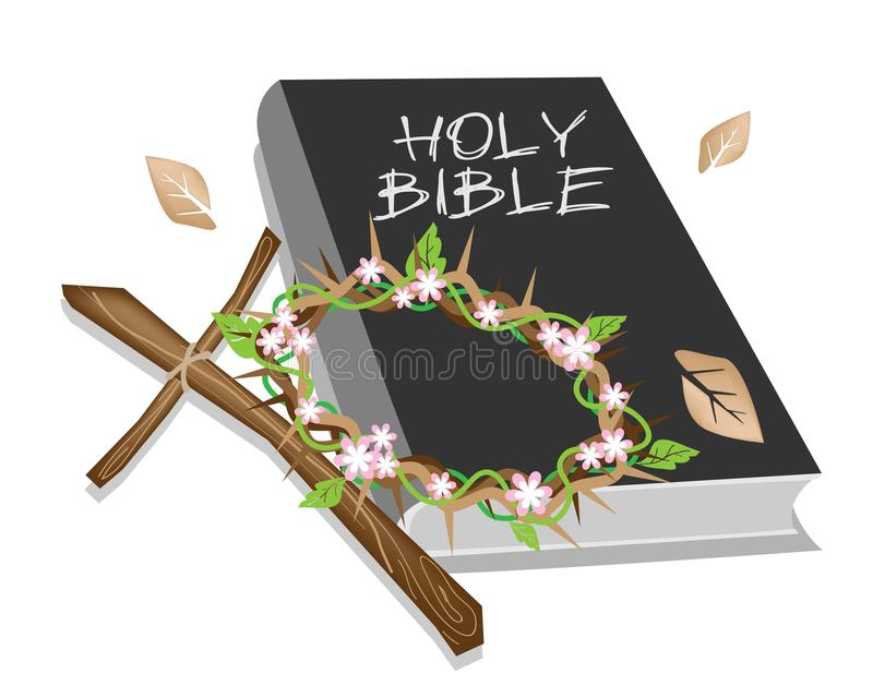 holy bible with wooden cross and a crown of thorn stock crown of thorns vector image Cross With Crown Vector