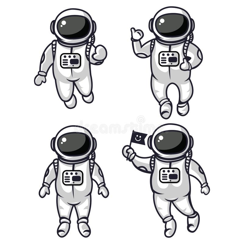Illustration of four cute astronauts. With different expressions. for all needs royalty free illustration