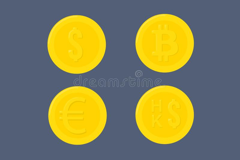 Illustration of Four Different Coins or Currencies. Vector Isolated Illustration of Four Different Coins or Currencies on a Dark Blue Background: Dollar, Bitcoin royalty free illustration
