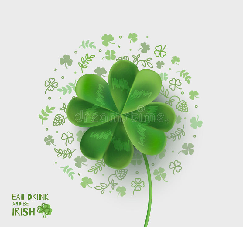 Illustration with four-leaf clover for St. Patrick's Day. royalty free illustration