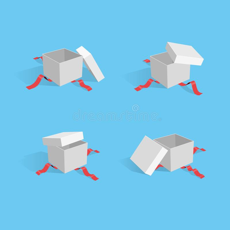 Illustration of four open gift packages with red ribbons stock illustration