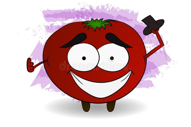 Illustration fraîche de caractère de tomate dans le style comique tenant le noir illustration stock