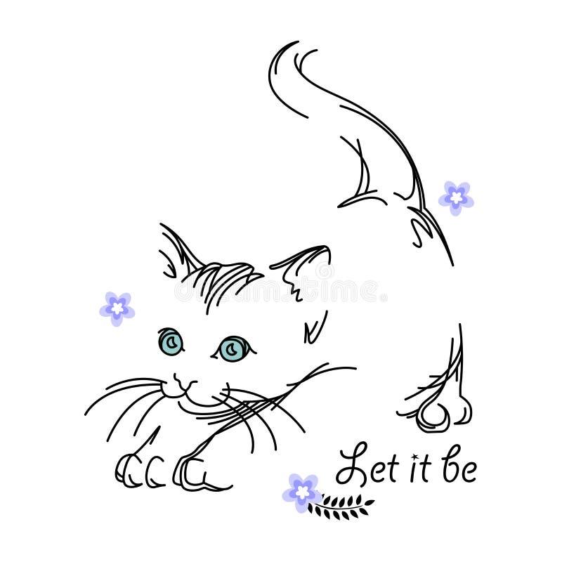Illustration fraîche de chat autour de quelques belles fleurs avec des citations illustration stock