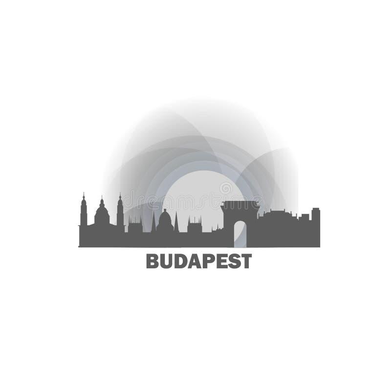 Illustration fraîche de logo de vecteur d'horizon de ville de Budapest illustration de vecteur