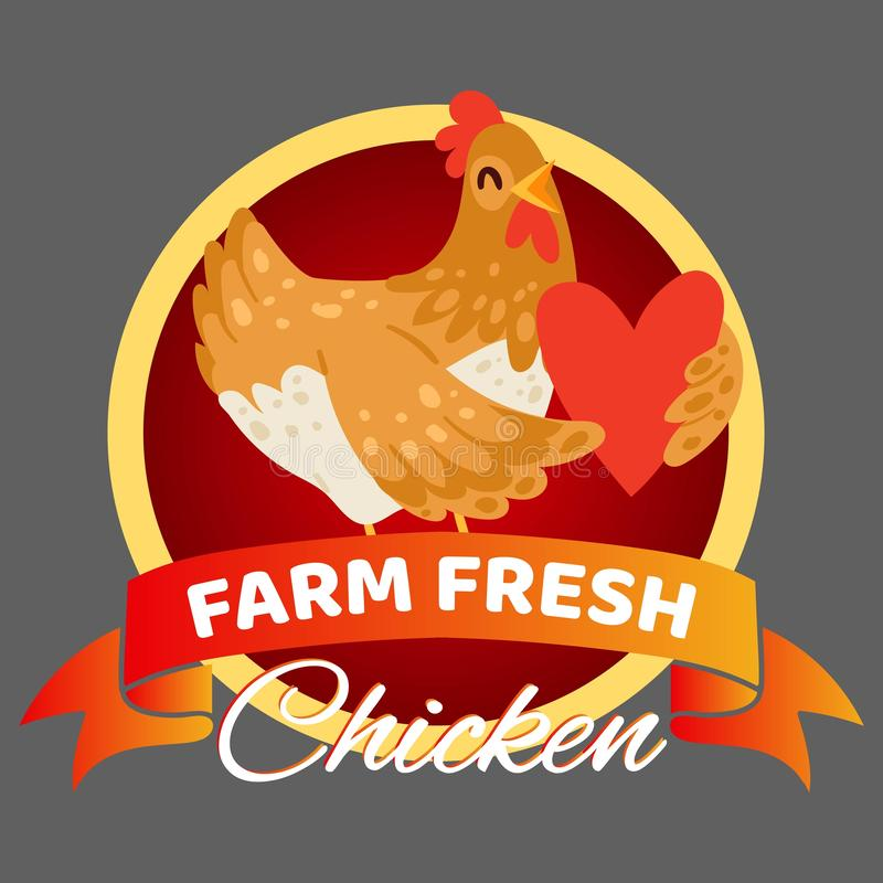 Illustration fraîche de vecteur de bannière de poulet de ferme Poule heureuse tenant le coeur Vente de la nourriture organique et illustration libre de droits