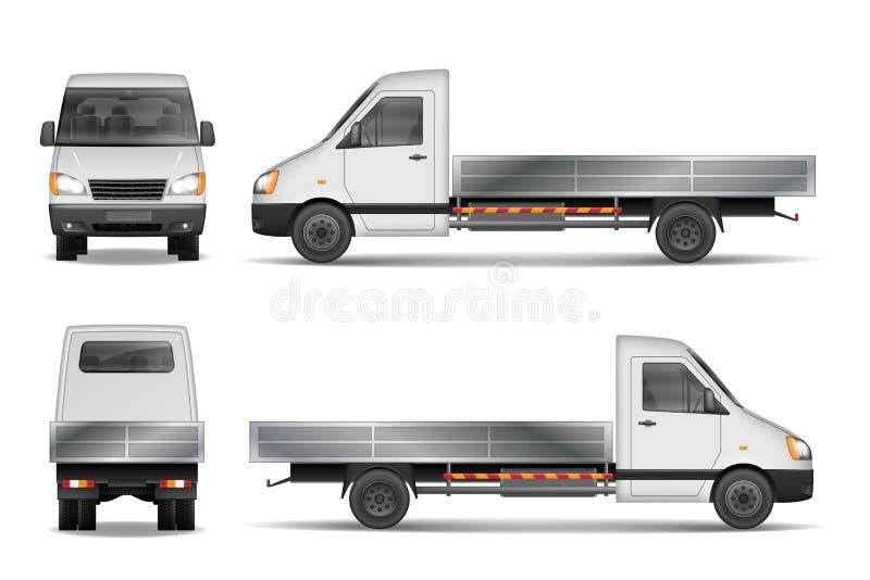 Illustration Frachtvan vector lokalisiert auf Weiß Stadtwerbungslastwagen Trägerwaffemodell von der Seite, Front und vektor abbildung