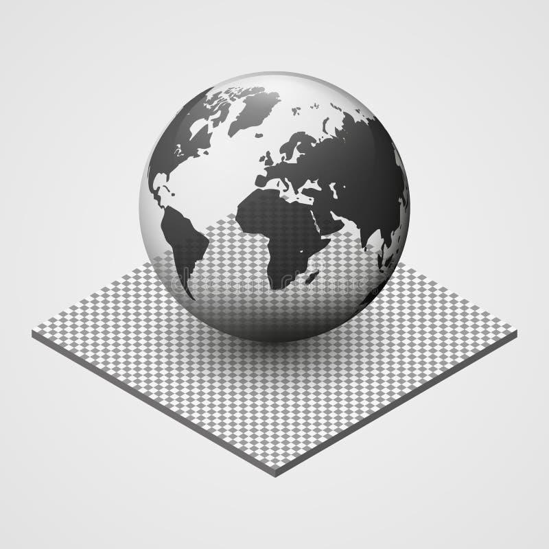 Illustration fragile transparente de vecteur de la terre Protection de l'environnement icône de la planète 3d Carte du monde illustration de vecteur