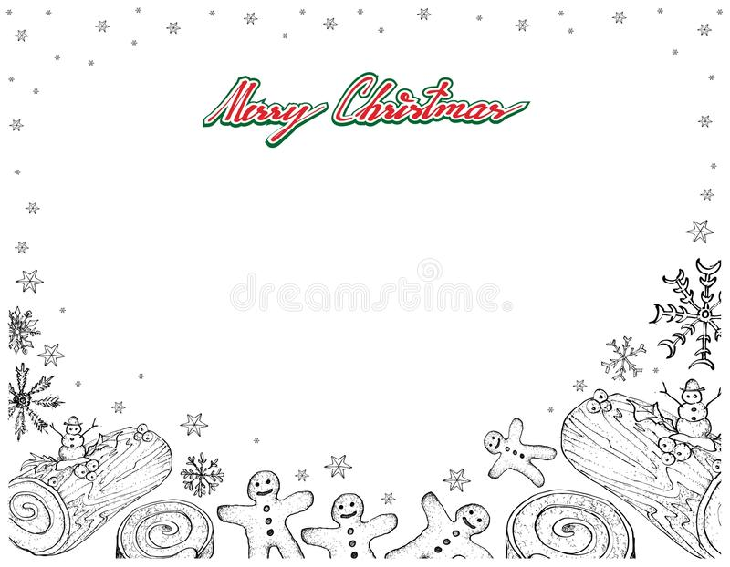 Hand Drawn of Yule Log Cake with Gingerbread Man Frame. Illustration Frame of Hand Drawn Sketch of A Traditional Christmas Cake, Yule Log Cake or Buche de Noel vector illustration