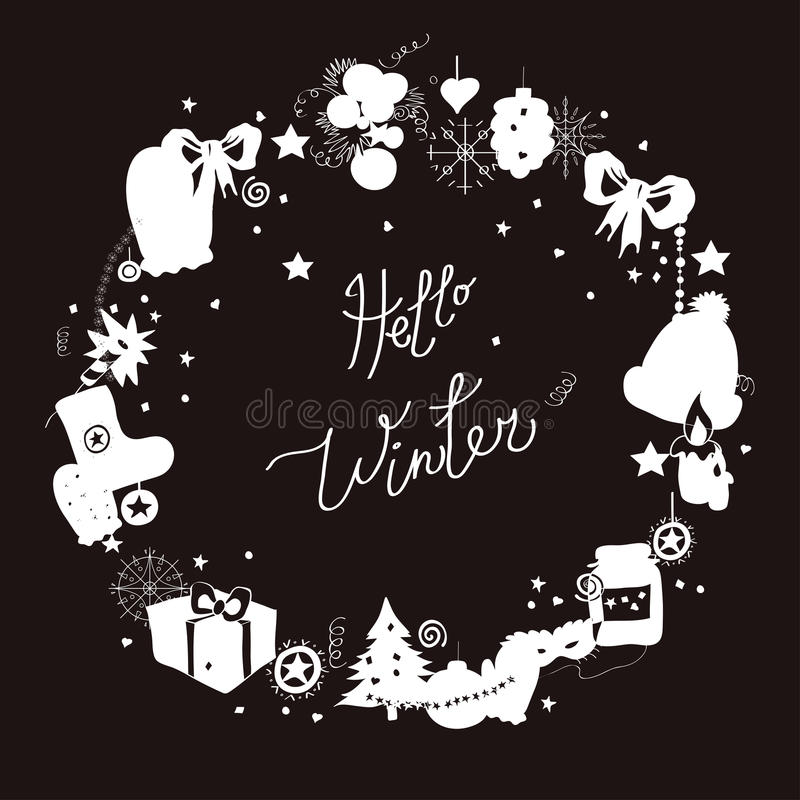 Illustration, frame, white silhouette on a black background. Set of winter elements and festive Christmas characters. Capti stock illustration