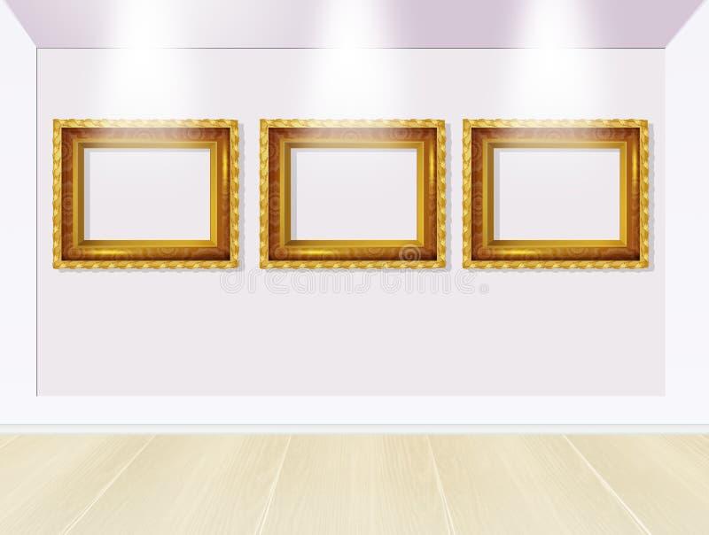 Frames in art gallery stock illustration. Illustration of gold ...