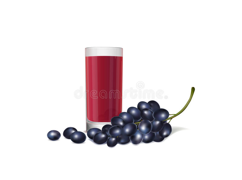 Download Illustration Of A Fresh Juice And Bunch Of Grapes On White Background Stock Vector - Image: 83709917