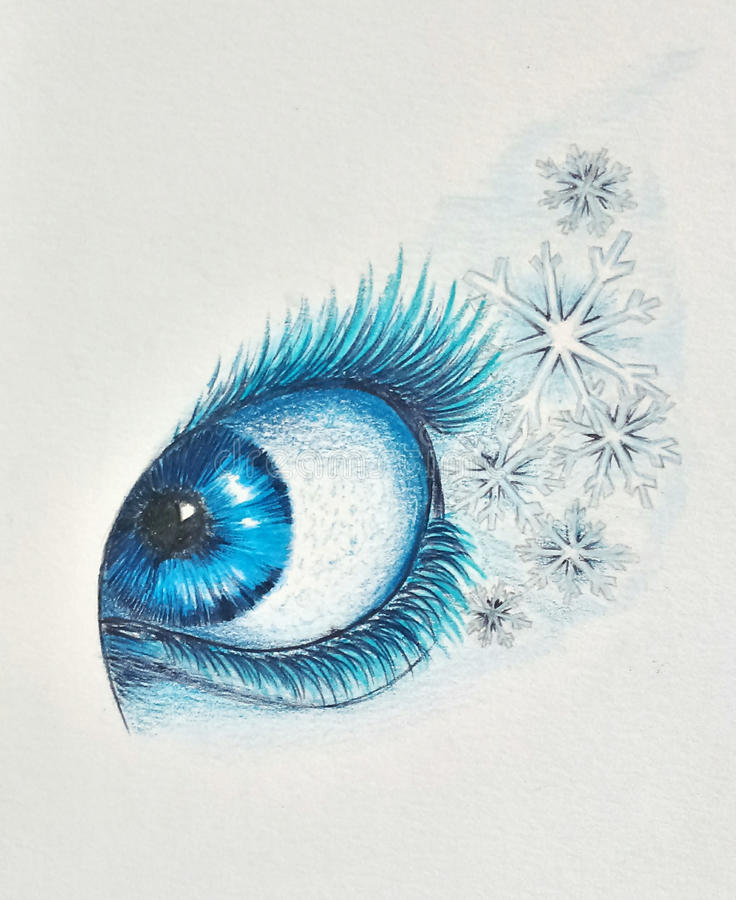 Illustration of a frozen eye royalty free stock photography
