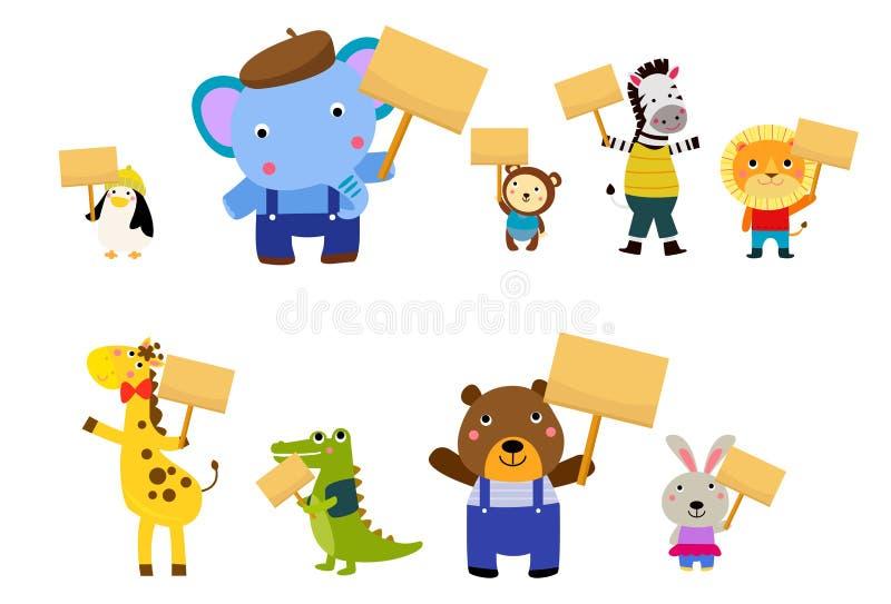 Funny animal wildlife cartoon collection royalty free illustration