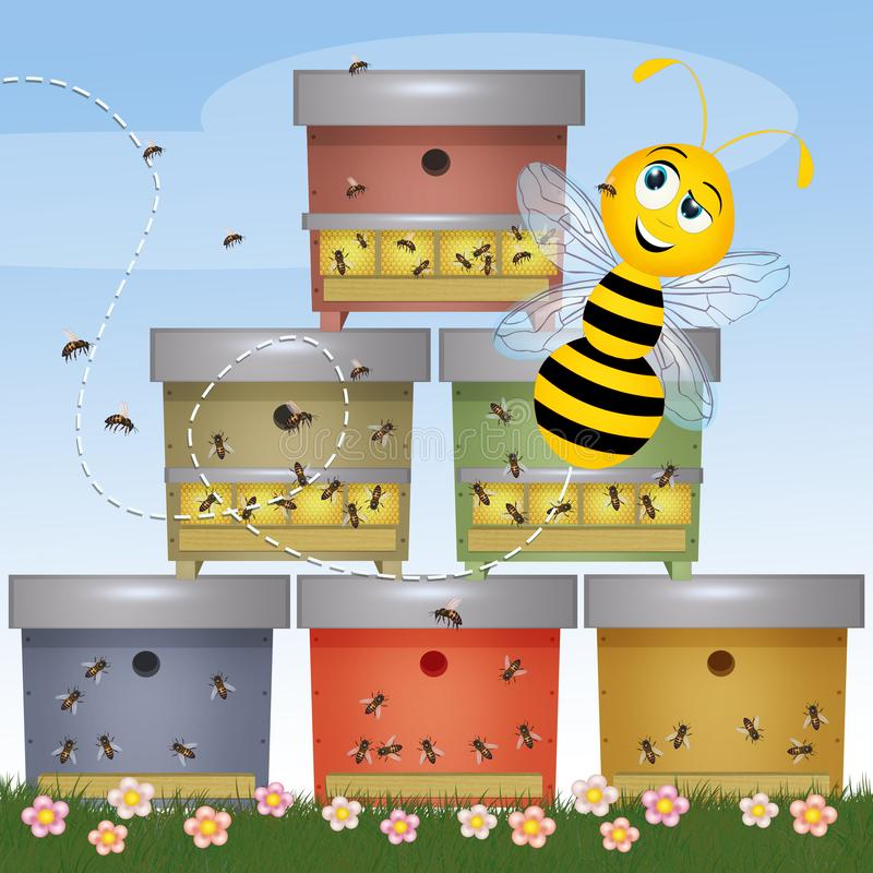 Funny bee and beehive. Illustration of funny bee and beehive stock illustration