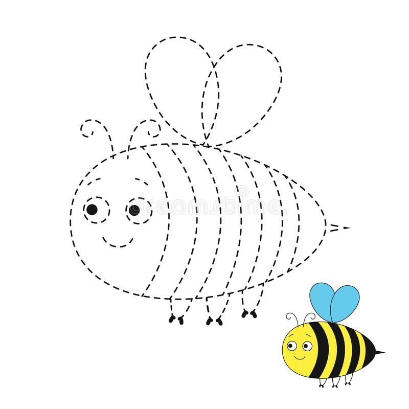 Illustration of funny bee for toddlers. Vector drawing worksheet for preschool kids with easy gaming level of difficulty. Simple educational game for kids vector illustration